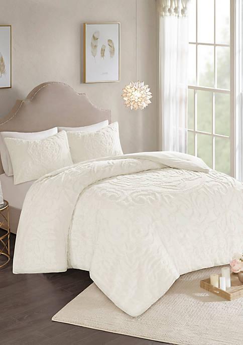 Madison Park Laetitia 3-Piece Cotton Chenille Comforter Set-Ivory