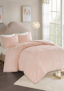 Madison Park Madison Park Laetitia 3-Piece Cotton Chenille Comforter Set- Blush