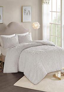 Madison Park Laetitia 3-Piece Cotton Chenille Comforter Set- Grey
