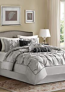 Madison Park Laurel 7-Piece Comforter Set- Grey