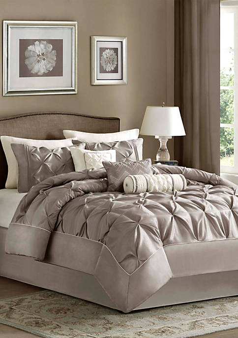 Madison Park Laurel Taupe 7-Piece Queen Comforter Set
