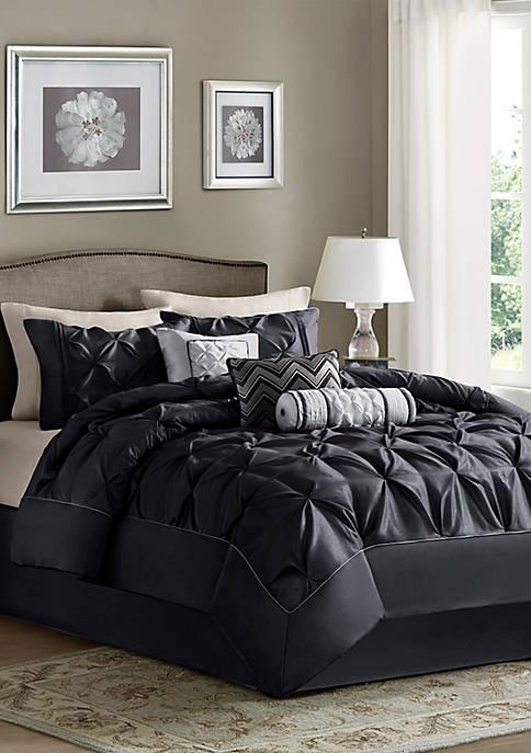 Madison Park Laurel 7-Piece Comforter Set- Black
