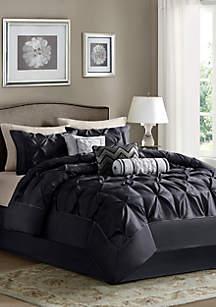 Laurel 7-Piece Comforter Set- Black