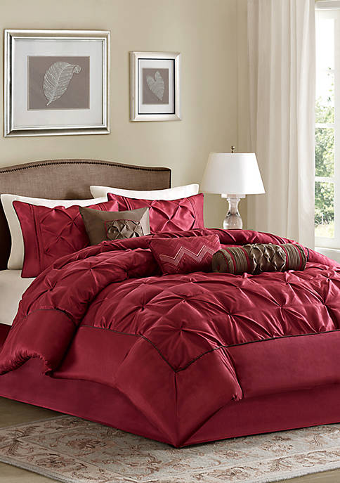 Madison Park Laurel 7-Piece Comforter Set- Red
