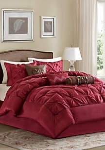Laurel 7-Piece Comforter Set- Red