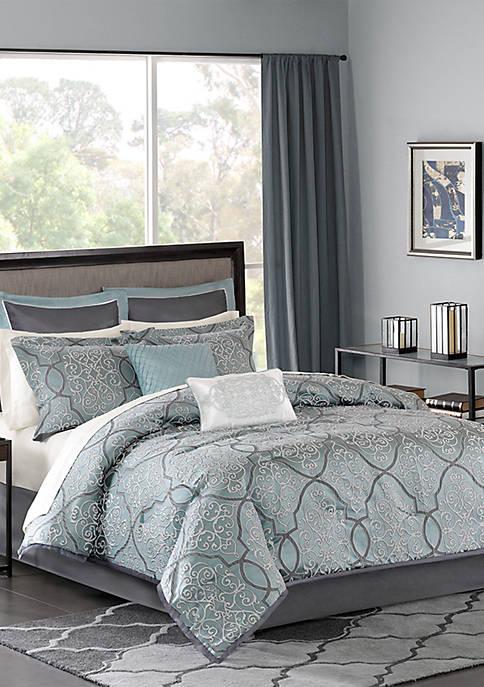 Madison Park Lavine 12-Piece Complete Bed Set- Blue