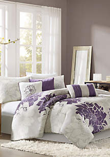 Lola Gray/Purple 7-Piece Queen Comforter Set 90-in. x 90-in.