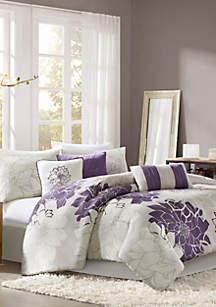 Madison Park Lola Gray/Purple 7-Piece Queen Comforter Set 90-in. x 90-in.