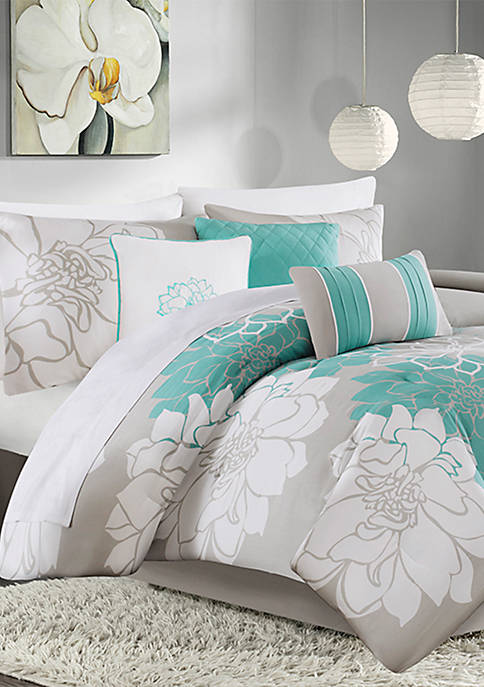 Madison Park Lola 7-Piece Comforter Set- Aqua