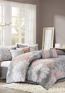 Lola Comforter Set - Grey and Blush