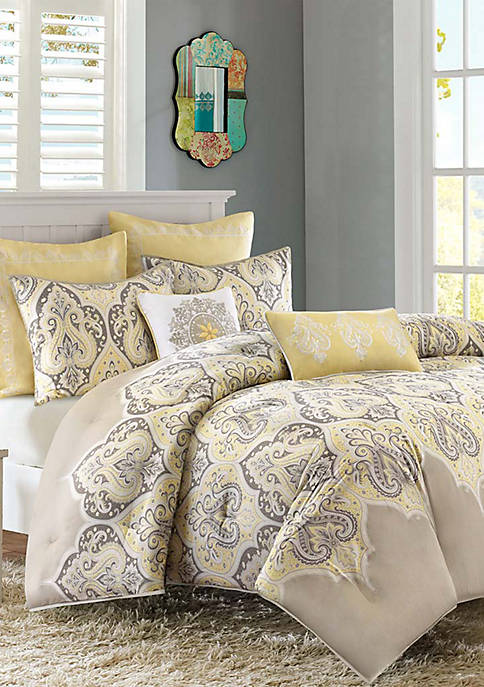 Madison Park Nisha Comforter Set- Yellow