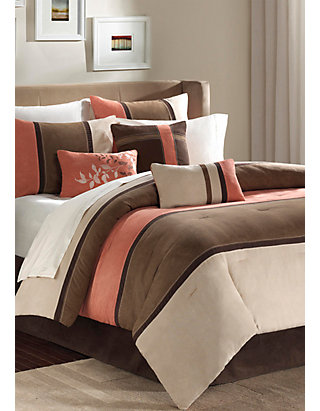 BEAUTIFUL BROWN CORAL TAUPE LEAF BEIGE MODERN 7PC COMFORTER SET QUEEN KING /& CAL