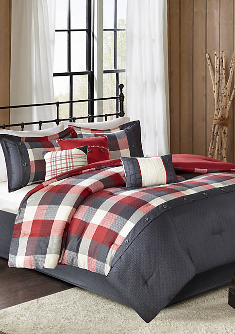 Ridge 7-Piece Herringbone Red Comforter Set
