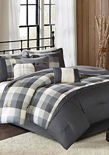 Ridge 7-Piece Herringbone Grey Comforter Set