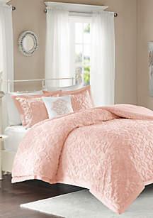 Sabrina 4-Piece Chenille Pink Comforter Set