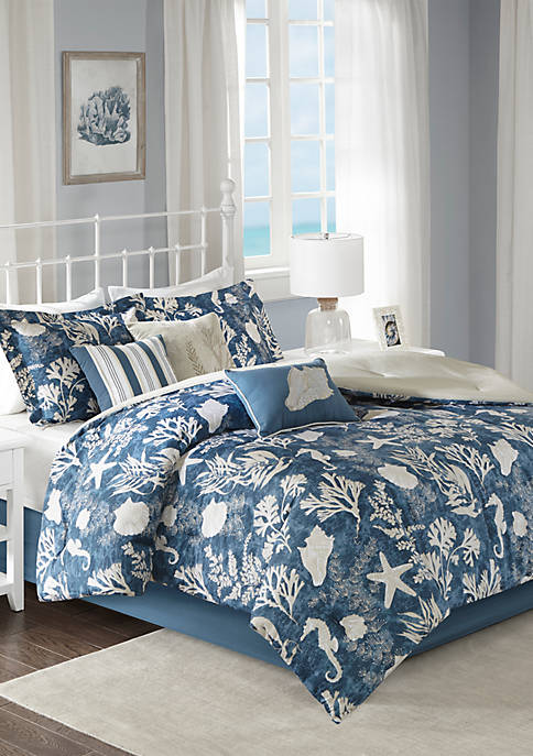 Cape Cod 7-Piece Cotton Sateen Blue Comforter Set