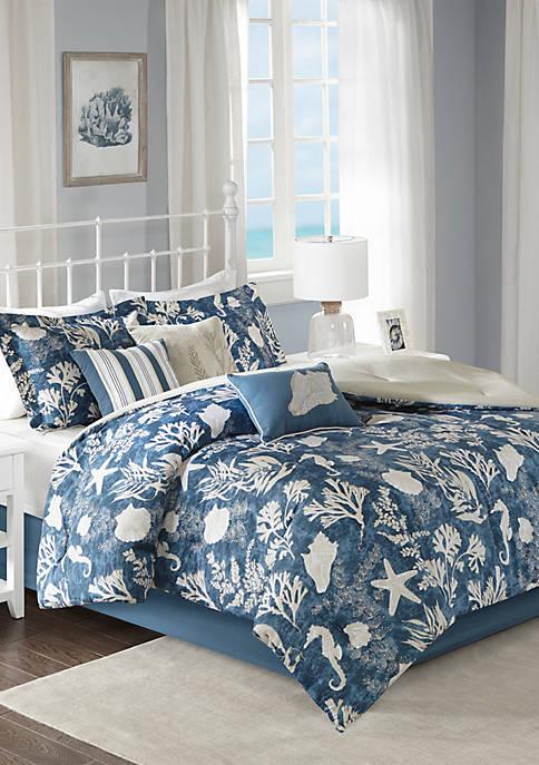 Cape Cod 7-Piece Cotton Sateen Blue Comforter Set