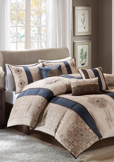 Donovan 7-Piece Jacquard Comforter Set- Navy
