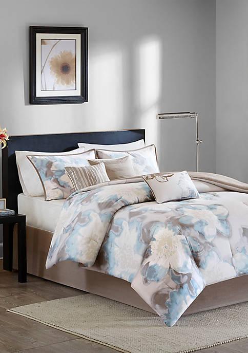 Madison Park Serena 7-Piece Blue Comforter Set