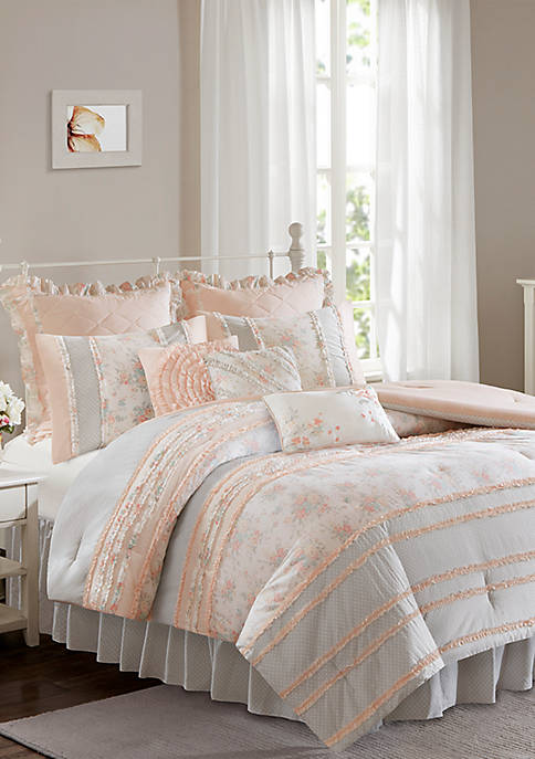 Madison Park Serendipity Cotton Percale Coral Comforter Set