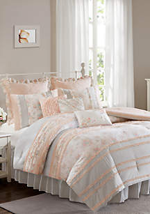 Serendipity Cotton Percale Coral Comforter Set