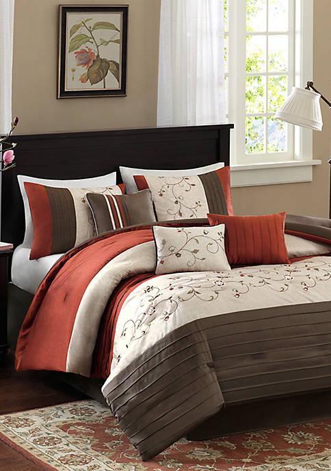 Serene Embroidered 7-Piece Orange Comforter Set