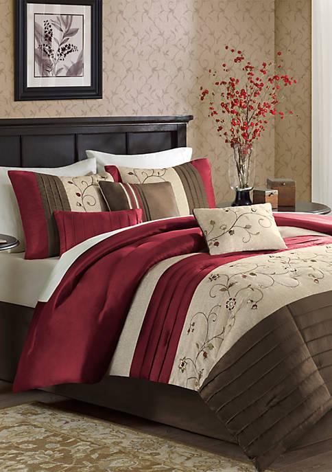 Serene Embroidered 7-Piece Red Comforter Set