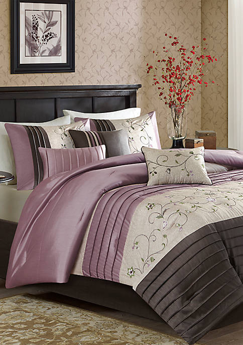 Madison Park Serene Embroidered 7-Piece Purple Comforter Set