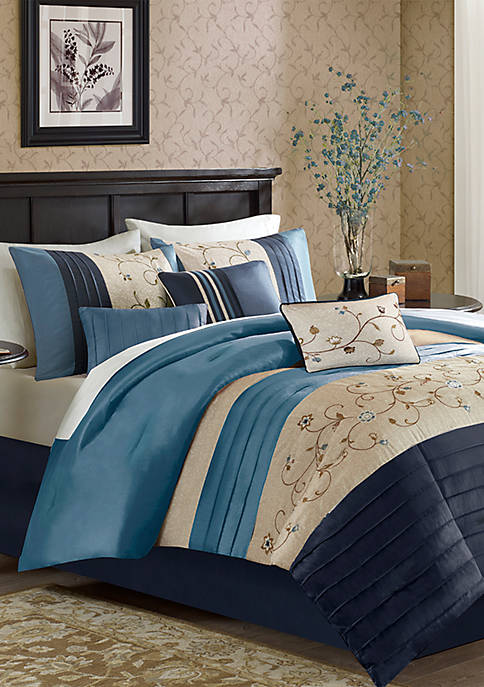 Madison Park Serene Embroidered 7-Piece Navy Comforter Set