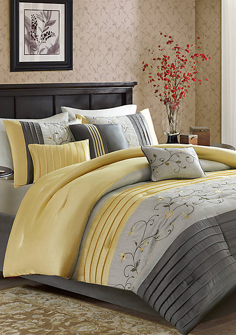 Serene Embroidered 7-Piece Yellow Comforter Set