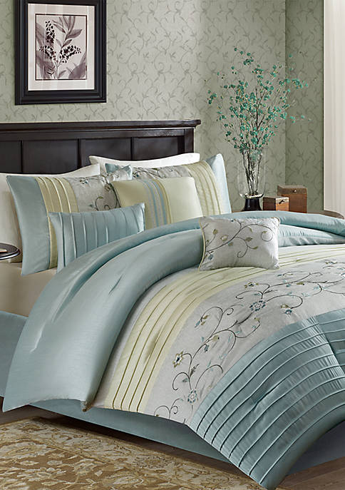 Serene Embroidered 7-Piece Aqua Comforter Set