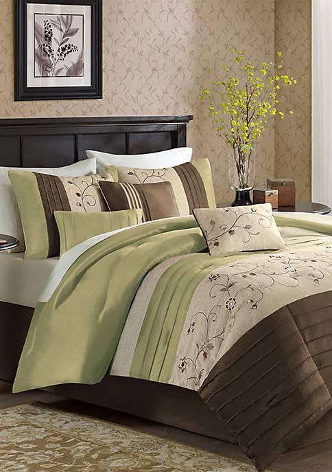 Serene Embroidered 7-Piece Green Comforter Set