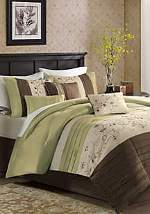 Serene Embroidered 7-Piece Green Comforter Set