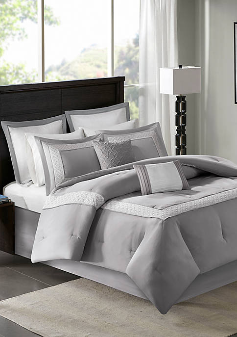 Stratford 8-Piece Grey Comforter Set