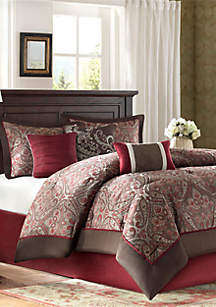 Talbot 7-Piece Red Comforter Set