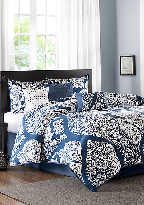 Vienna 7-Piece Cotton Printed Indigo Comforter Set