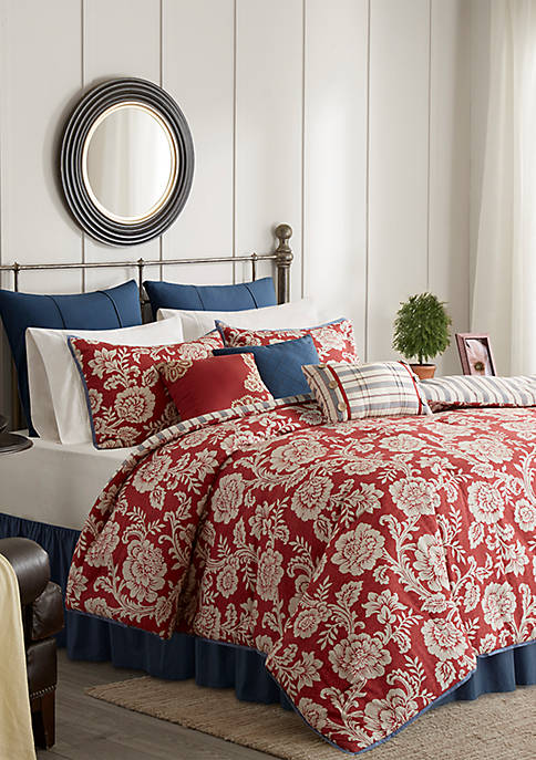 Lucy 9-Piece Cotton Twill Reversible Red Comforter Set