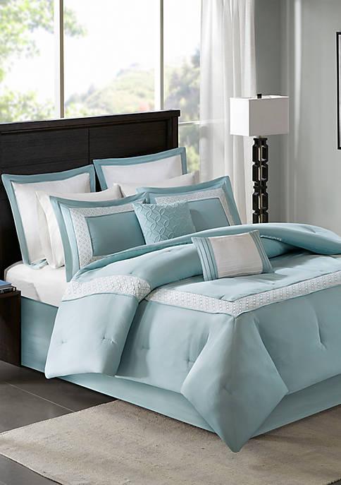 Madison Park Stratford 8-Piece Aqua Comforter Set