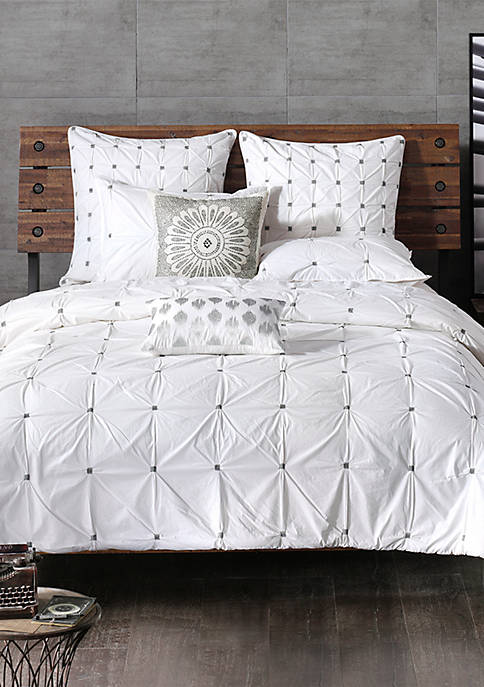 Masie 3 Piece Cotton White Duvet Cover Mini Set