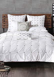 Masie 3 Piece Cotton White Duvet Cover Mini Set