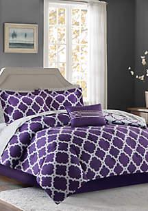Madison Park Essentials Merritt Reversible Complete Comforter Set - Purple/Grey