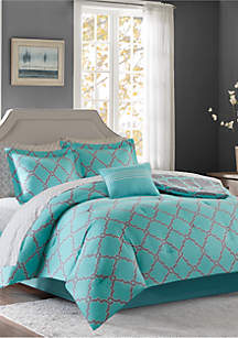 Madison Park Essentials Merritt Reversible Complete Comforter Set - Aqua/Grey