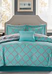 Madison Park Essentials Merritt Reversible Complete Comforter Set - Aqua/Grey