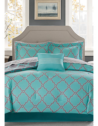 Aqua Yellow /& Grey Reversible Medallion Comforter Set AND Matching Sheet Set