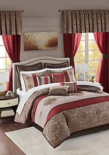 Madison Park Essentials Delaney 24-Piece Complete Comforter Set - Red