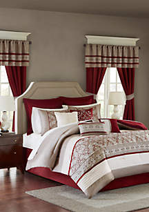 Madison Park Essentials Jelena 24-Piece Complete Comforter Set - Red