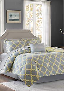 Madison Park Essentials Merritt Reversible Complete Comforter Set - Grey/Yellow