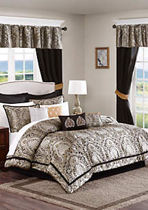 Madison Park Essentials Michelle 24-Piece Complete Comforter Set - Black
