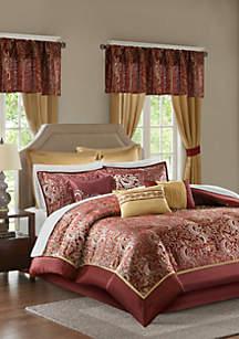 Madison Park Essentials Brystol 24-Piece Complete Comforter Set - Red