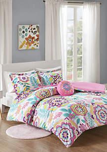 MiZone Camille Floral Comforter Set - Pink